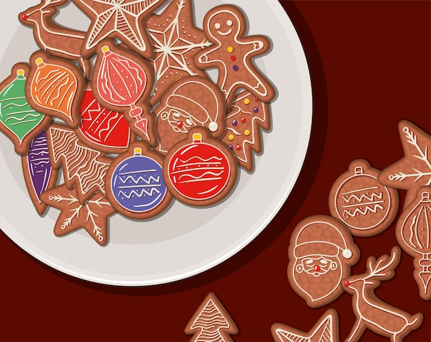 Ciastka, wesoło bożych narodzeń sezonu dekoraci karty zaproszenia świętowanie i wakacje ilustracja