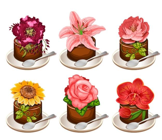 Ciasto czekoladowe z kwiatami na szklanym talerzu