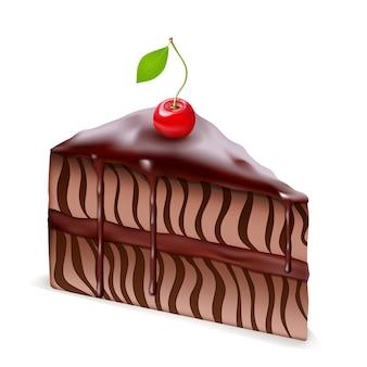 Ciasto czekoladowe z wiśnią na białym tle