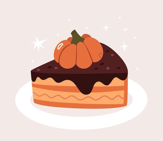 Ciasto dyniowe z czekoladą na białym talerzu. jedzenie na halloween.