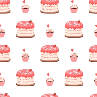 Ciasto i babeczka z dżemem udekorowane na walentynki. wzór. ładny ręcznie rysowane ilustracji