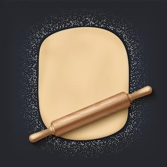 Ciasto i wałek do ciasta. realistyczna mieszanka piekarnicza 3d z ciastem mącznym i drewnianym wałkiem do ciasta na stole