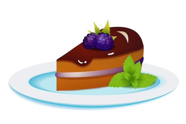 Ciasto jeżynowe z miętą na talerzu