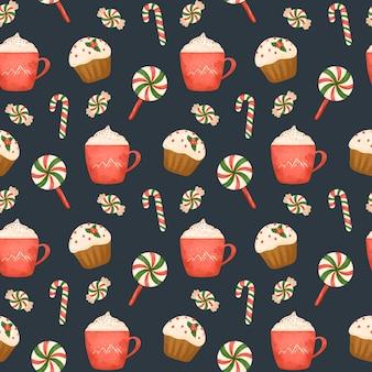 Ciasto kakaowe i wzór cukierków świątecznych