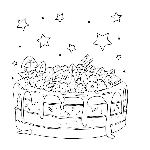 Ciasto malinowe. kolorowanka.