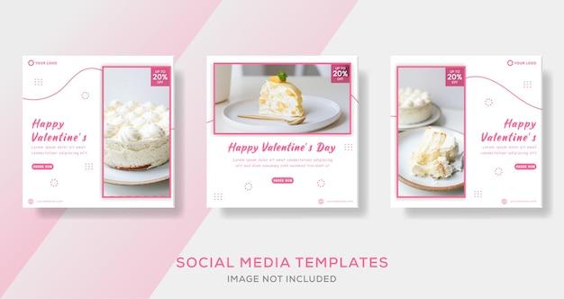 Ciasto menu na walentynki, szablon posta na instagram, rozmiar kwadratowy