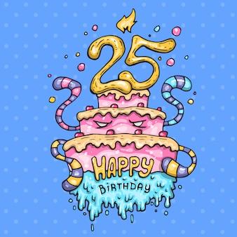 Ciasto monster na 25 rocznicę. kreskówki ilustracja w komicznym modnym stylu.