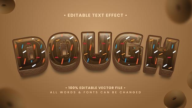 Ciasto piekarnia 3d efekt stylu tekstu. edytowalny styl tekstu programu illustrator.