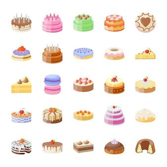 Ciasto płaskie wektor zestaw ikon