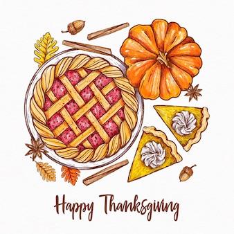 Ciasto ręcznie rysowane tła dziękczynienia