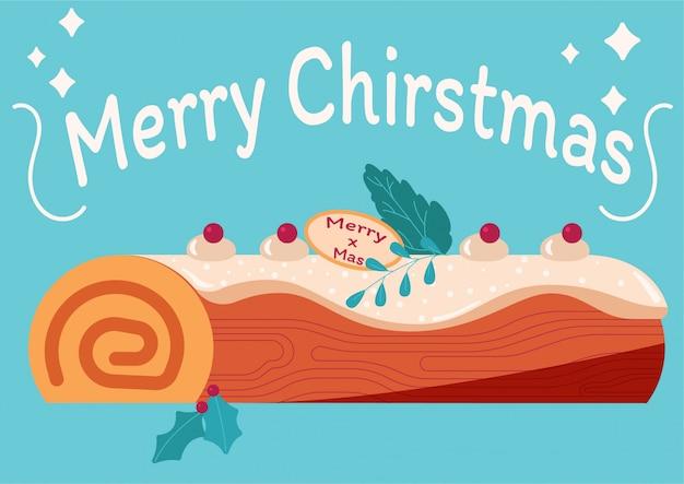 Ciasto yule log z świąteczną dekoracją