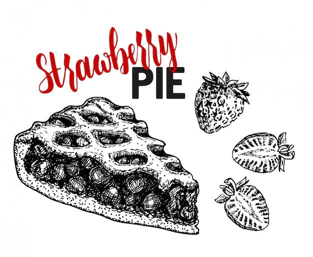 Ciasto z poziomkami. ciasto jagodowe i dojrzałe truskawki. szkic ilustracji.