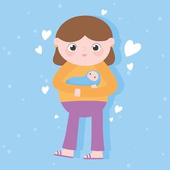 Ciąża i macierzyństwo, śliczna mama niosąca kreskówki dla dzieci