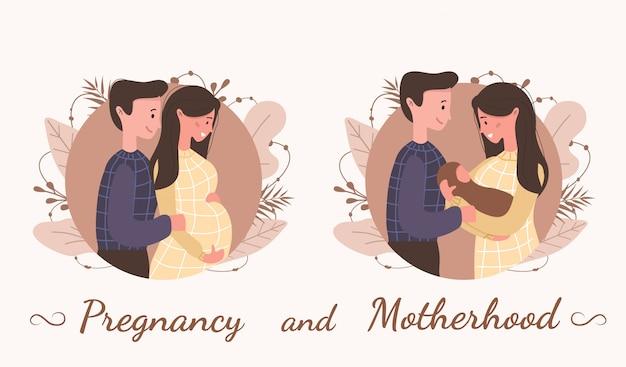 Ciąża i macierzyństwo. szczęśliwa rodzina czeka na dziecko. śliczna kobieta w ciąży z jej mężem i dzieckiem. nowoczesna ilustracja w wielkim stylu.