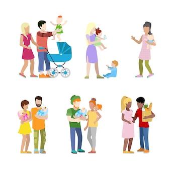 Ciąża Prenatalna Rodzina Noworodków Miejskich Młodych Rodziców Rodziców Karmiących Darmowych Wektorów