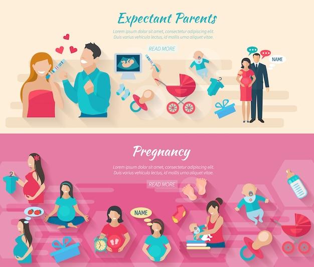 Ciążowy poziomy baner zestaw z rodzicami i poród płaskie elementy na białym tle