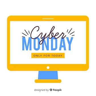 Ciber poniedziałku sprzedaży płaska konstrukcja ilustracja