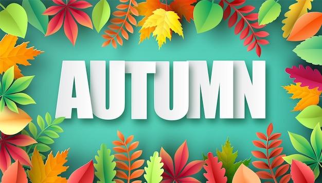 Cięcia papieru jesień, liście klonu na tle. ilustracja wektorowa.