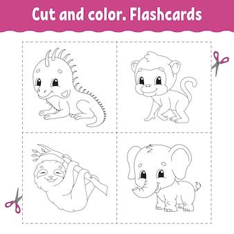 Cięcie i kolor. zestaw kart. małpa, lenistwo, iguana, słoń. kolorowanka dla dzieci.