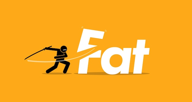 Cięcie niezdrowego tłustego jedzenia dla zdrowej diety. koncepcja grafiki zdrowego stylu życia, dobrej diety i zaprzestania jedzenia tłuszczów trans.