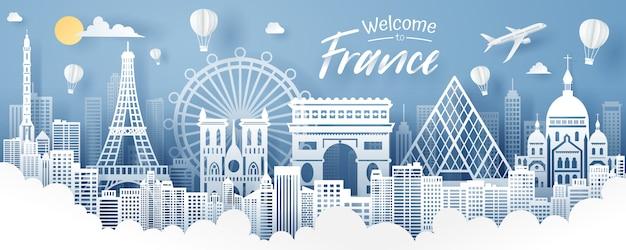 Cięcie papieru koncepcja punkt orientacyjny, podróży i turystyki francji.