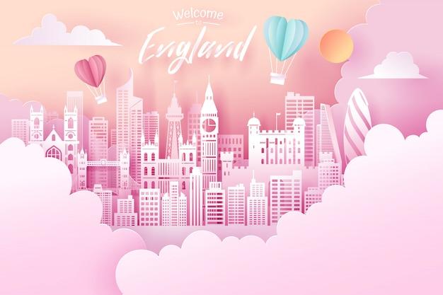 Cięcie papieru koncepcja punkt orientacyjny, podróży i turystyki w anglii.