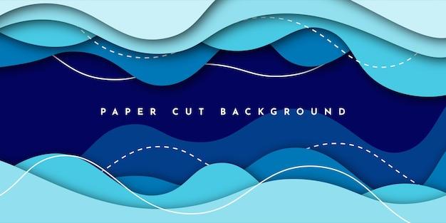 Cięcie papieru streszczenie niebieskim tle
