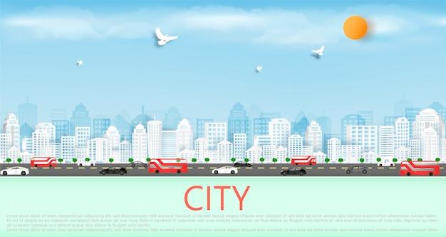 Cięcie papieru wektorowego oraz w wielkim mieście z budynkami i domami.