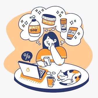 Ciekawa dziewczyna freelancer patrząc na rabat doodle ilustracja