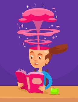 Ciekawa ilustracja kreskówka książki
