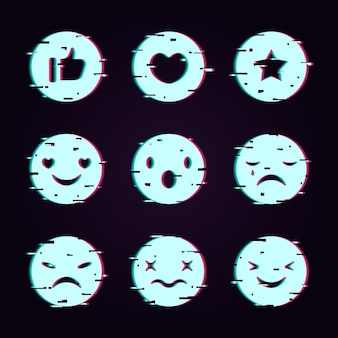 Ciekawa kolekcja emoji typu glitch