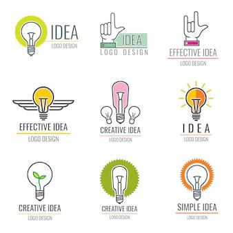 Ciekawy pomysł, media cyfrowe, kolekcja logo inteligentnego mózgu koncepcja