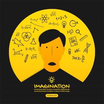 Ciekawy pomysł tło, koncepcja edukacji z konturem ikony
