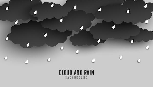 Ciemna chmura i deszcz spadają w tle