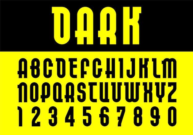 Ciemna czcionka. modny alfabet, czarne litery wektorowe na żółtym tle.