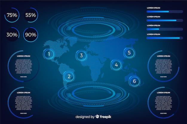 Ciemna futurystyczna kolekcja elementów infographic