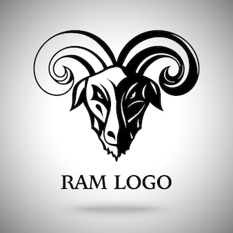 Ciemna głowa kozy barana z ilustracją rogów