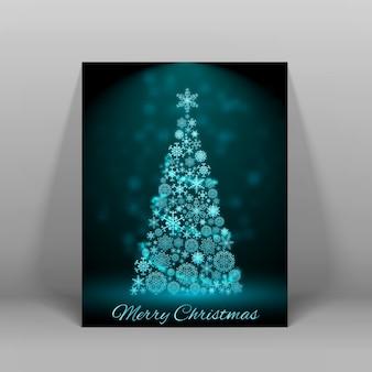 Ciemna pocztówka wesołych świąt z dużą zdobioną jodłą w niebieskim jasnym płaskim rysunku