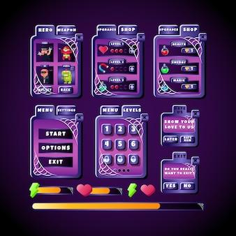 Ciemna przerażająca gra ui halloweenowa tablica wyskakująca zestaw kolekcji interfejsów z paskiem postępu i panelem