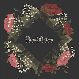 Ciemna ramka w kwiaty z czerwonymi i białymi kwiatami