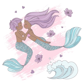 Ciemna, skinned love cartoon tropical vector illustration set