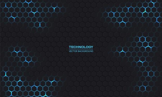 Ciemna technologia sześciokątne tło.