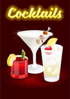 Ciemna wiśnia streszczenie tło ze świeżym lodem mrożone koktajle alkoholowe krwawa mary tom collins dry martini reklama dla biznesu bar restauracja impreza klub plażowy nowoczesna ilustracja