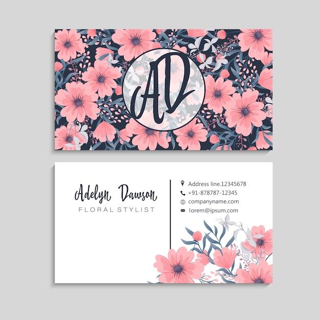 Ciemna wizytówka z pięknymi kwiatami