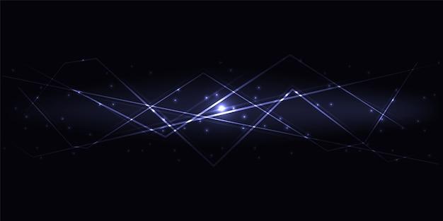 Ciemne abstrakcyjne tło technologii innowacji z fioletowymi półprzezroczystymi liniami świetlnymi i pasemkami.