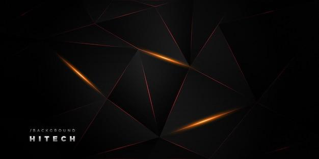 Ciemne geometryczne hitech świecące tło