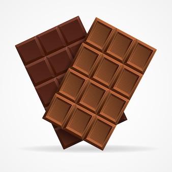 Ciemne i mleczna czekolada bar na białym tle.