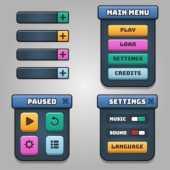 Ciemne kolory projekt dla pełnego zestawu wyskakujących okienek, ikon, okien i elementów gry z przyciskami poziomu
