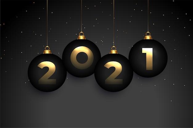Ciemne tło szczęśliwego nowego roku 2021 z bombkami