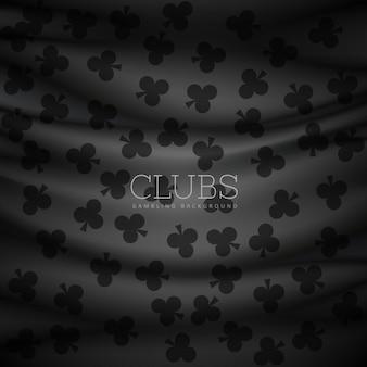 Ciemne tło wzór klubów drukowane na płótnie